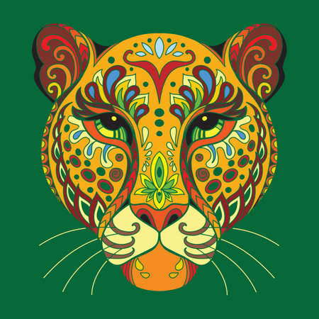 Head of leopard with doodle elements. Abstract vector colorful illustration isolated on green background. For design, print, decor, tattoo, t-shirt, puzzle, poster, porcelain and stickers 일러스트