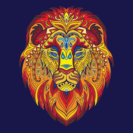 Head of lion with doodle elements. Abstract vector colorful illustration isolated on blue background. For design, print, decor, tattoo, t-shirt, puzzle, poster, porcelain and stickers. 일러스트