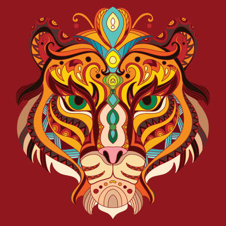 Head of tiger with doodle elements. Abstract vector colorful illustration isolated on red background. For design, print, decor, tattoo, t-shirt, puzzle, poster, porcelain and stickers.