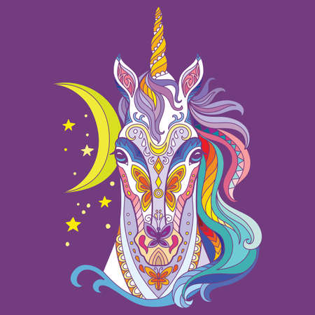 Head of unicorn with doodle elements. Abstract vector colorful illustration isolated on purple background. For design, print, decor, tattoo, t-shirt, puzzle, poster, porcelain and stickers 일러스트