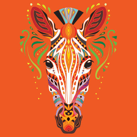 Head of zebra with doodle elements. Abstract vector colorful illustration isolated on red background. For design, print, decor, tattoo, t-shirt, puzzle, poster, porcelain and stickers. 일러스트