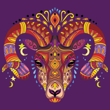 Head of ram with doodle elements. Abstract vector colorful illustration isolated on purple background. For design, print, decor, tattoo, t-shirt, puzzle, poster, porcelain and stickers.