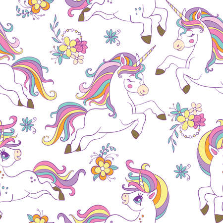 Seamless pattern with beauty unicorns and flowers on white background. Vector illustration for party, print, baby shower, wallpaper, design, decor, linen, dishes, bed linen and kids apparel