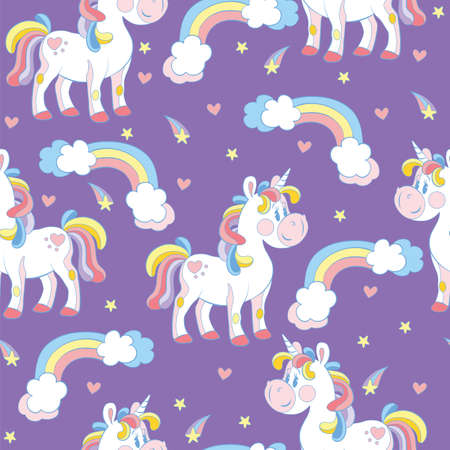 Seamless pattern with cute cartoon unicorns and rainbows on purple background. Vector illustration for party, print, baby shower, wallpaper, design, decor, linen, dishes, bed linen and kids apparel