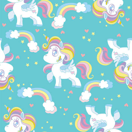 Seamless pattern with cute cartoon unicorns and rainbows on turquoise background. Vector illustration for party, print, baby shower, wallpaper, design, decor, linen, dishes, bed linen and kids apparel