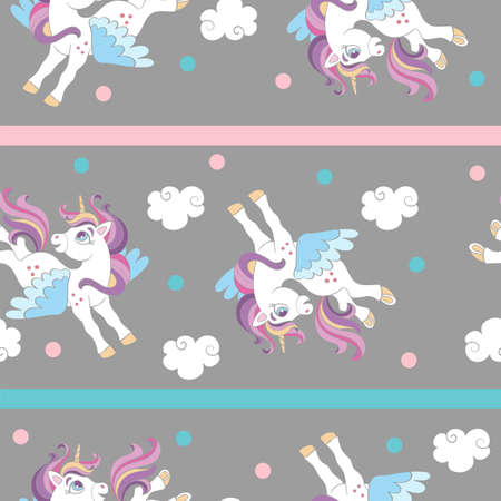 Seamless pattern with cute cartoon unicorns and clouds on gray background. Vector illustration for party, print, baby shower, wallpaper, design, decor, linen, dishes, bed linen and kids apparel