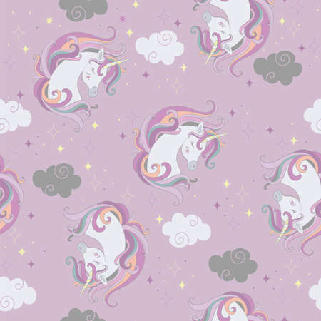 Seamless pattern with beautiful unicorns heads and clouds on purple background. Vector illustration for party, print, baby shower, wallpaper, design, decor, linen, dishes, bed linen and kids apparel Иллюстрация