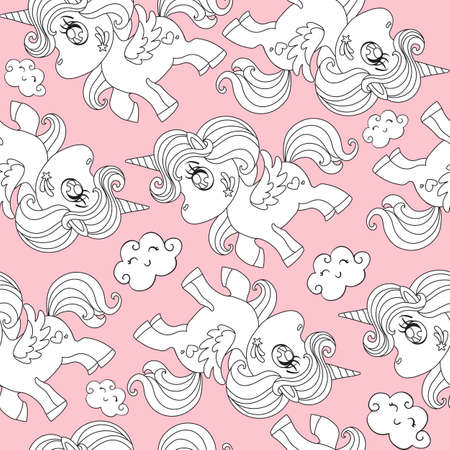 Seamless pattern with white unicorns and clouds on pink background. Vector illustration for party, print, baby shower, wallpaper, design, decor, linen, dishes, bed linen and kids apparel