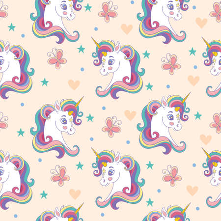 Seamless pattern with pretty unicorns heads and butterflies on beige background. Vector illustration for party, print, baby shower, wallpaper, design, decor, linen, dishes, bed linen and kids apparel