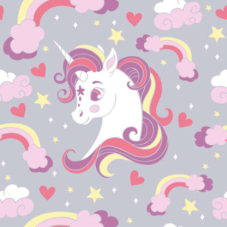 Seamless pattern with cute cartoon unicorn and rainbows on gray background. Vector illustration for party, print, baby shower, wallpaper, design, decor, linen, dishes, bed linen and kids apparel