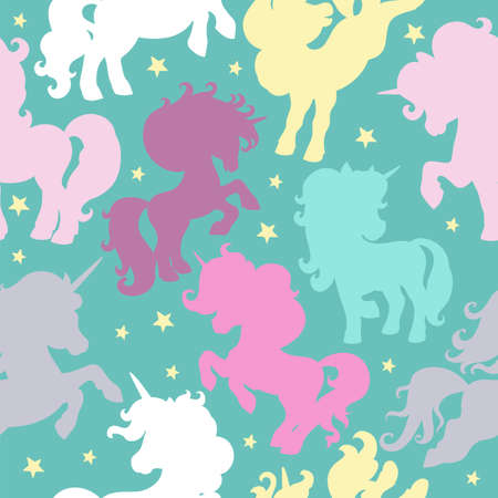 Seamless pattern with colorful unicorns silhouettes on turquoise background. Vector illustration for party, print, baby shower, wallpaper, design, decor, linen, dishes, bed linen and kids apparel Иллюстрация