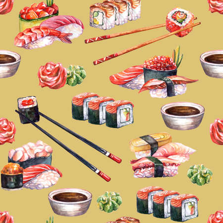 Seamless pattern japanese cuisine sushi and rolls set, watercolor illustration. Sushi background. For design sushi restaurant menu, cards, print, decor, design, wallpaper, marketing, paper