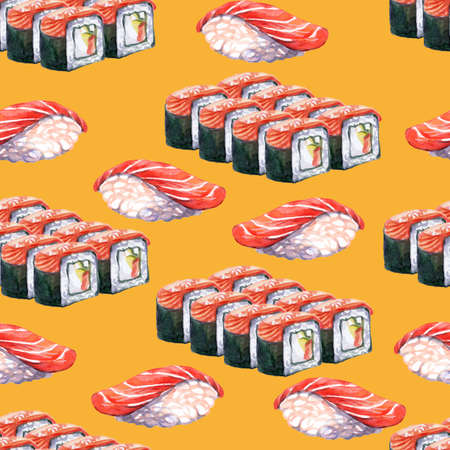 Seamless pattern japanese cuisine sushi and rolls set, watercolor illustration. Sushi background. For design sushi restaurant menu, cards, print, decor, design, wallpaper, marketing, paper