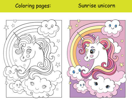 Beauty unicorn head with rainbow and clouds. Coloring book page for children with colorful template. Vector cartoon isolated illustration. For coloring book, education, print, game, decor, puzzle, design