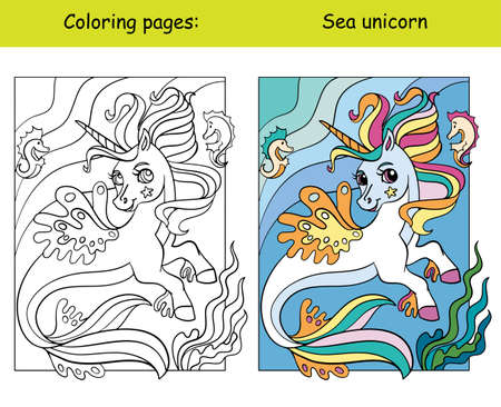 Cute sea unicorn with long mane and tail. Coloring book page for children with colorful template. Vector cartoon isolated illustration. For coloring book, education, print, game, decor, puzzle, design