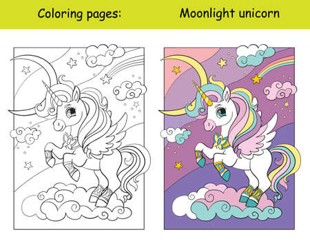 Cute unicorn with wings on a cloud. Coloring book page for children with colorful template. Vector cartoon isolated illustration. For coloring book, education, print, game, decor, puzzle, design