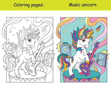 Cute and cool unicorn with guitar. Coloring book page for children with colorful template. Vector cartoon isolated illustration. For coloring book, education, print, game, decor, puzzle, design