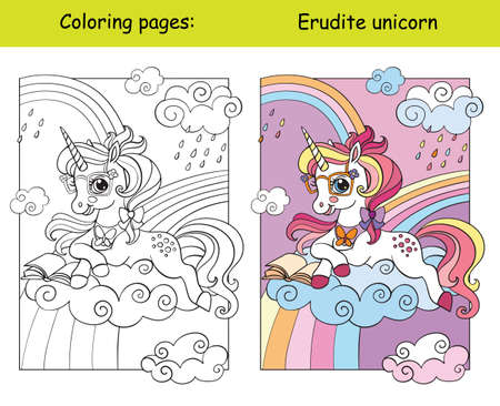 Cute unicorn lying on a cloud and reading a book. Coloring book page for children with template. Vector cartoon isolated illustration. For coloring book, education, print, game, decor, puzzle, design
