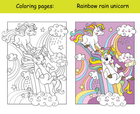 Cute funny unicorns ride down the rainbow. Coloring book page for children with colorful template. Vector cartoon isolated illustration. For coloring book, education, print, game, decor, puzzle, design