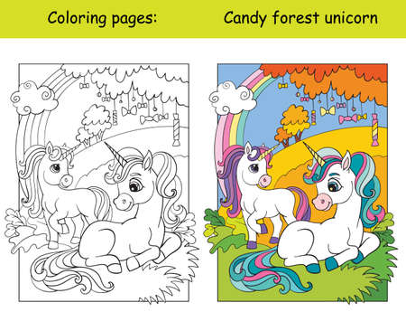 Cute unicorns in the autumn forest. Coloring book page for children with colorful template. Vector cartoon isolated illustration. For coloring book, education, print, game, decor, puzzle, design Иллюстрация