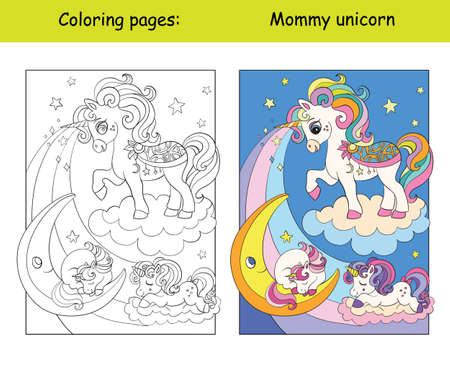 Mommy unicorn with two sleeping babies. Coloring book page for children with colorful template. Vector cartoon isolated illustration. For coloring book, education, print, game, decor, puzzle, design