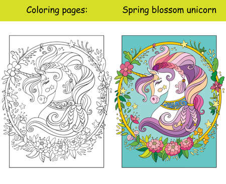 Beauty unicorn head wreath of flowers. Coloring book page for children with colorful template. Vector cartoon isolated illustration. For coloring book, education, print, game, decor, puzzle, design Иллюстрация