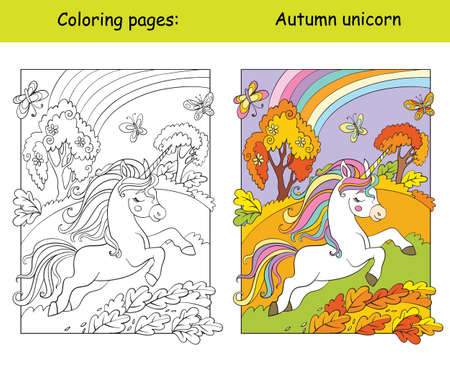 Cute running unicorn in the autumn forest. Coloring book page for children with colorful template. Vector cartoon isolated illustration. For coloring book, education, print, game, decor, puzzle, design