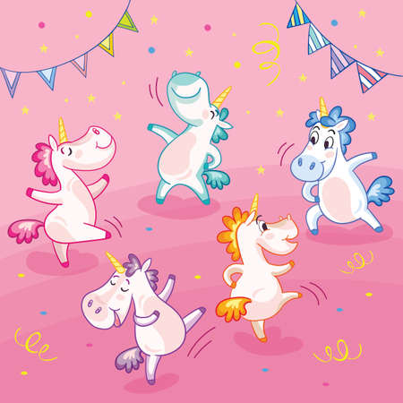 Cute and happy unicorns celebrating dancing on a party. Vector illustration. Poster for party, print, baby shower, wallpaper, design, decor, linen, dishes, cards, stickers, t-shirt and kids apparel Illusztráció