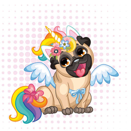 Puppy Pug in a bright colored costume of a unicorn. Vector illustration. Cartoon character. Pugicorn. Humor poster. For t-shirt composition, print, design, posters, cards, stickers, decor, party, apparel