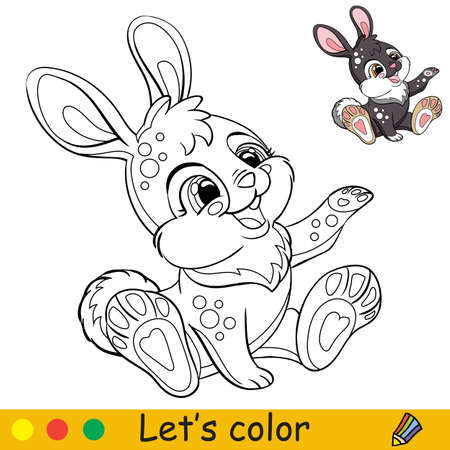 Cute sitting rabbit. Cartoon character rabbit. Coloring book page with colorful template. Vector contour isolated illustration. For coloring book, preschool education, print, stickers, design and game