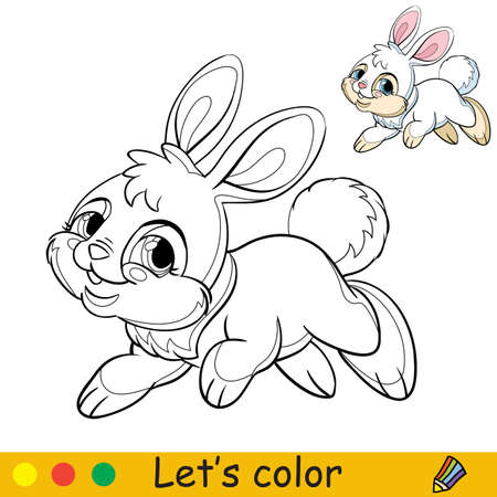 Cute jumping rabbit. Cartoon character rabbit. Coloring book page with colorful template. Vector contour isolated illustration. For coloring book, preschool education, print, stickers, design and game. Иллюстрация