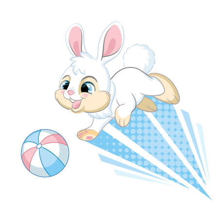 Jumping rabbit with ball. Cartoon character. Vector isolated colorful illustration. For print and design, posters, nursery design, cards, stickers, room decor, party, t-shirt, kids apparel and invitation