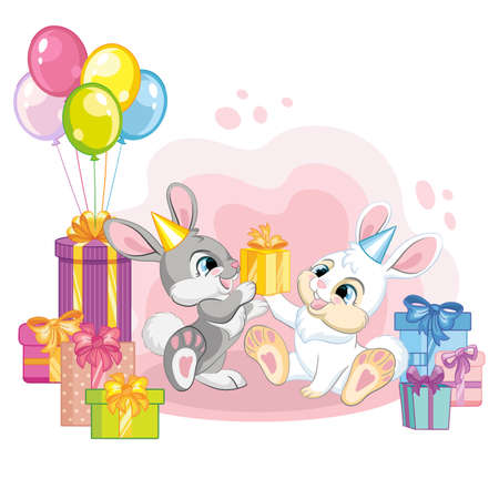 Two cute cartoon little rabbits with balloons and present boxes. Vector isolated illustration. For postcard, posters, nursery design, greeting card, stickers, room decor, party, nursery t-shirt, apparel Иллюстрация