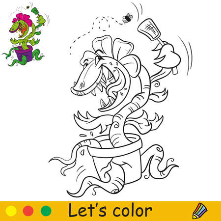 Coloring book page funny carnivorous plant catching up a fly. Cartoon character. Vector isolated illustration. Halloween concept. For coloring book, preschool education, print, stickers, design, game