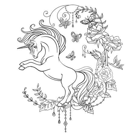 Antistress coloring with unicorn in profile and abstract floral frame. Vector black and white isolated contour illustration for coloring book pages, design, print, poster, postcard, sticker, tattoo Иллюстрация