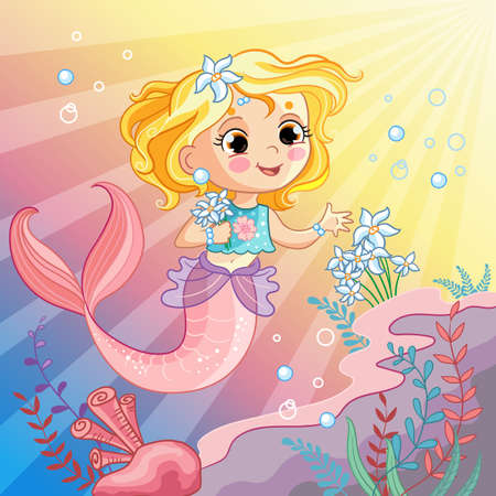 Vector background with an underwater world in a childrens style. A mermaid collects flowers. Stock illustration. For t-shirt composition, print and design, poster, card, sticker, decor and apparel