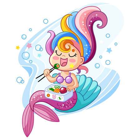 Cute kawaii mermaid character sitting on a shell and eating sushi. Vector cartoon isolated illustration. Stock illustration. For t-shirt composition, print and design, poster, card, sticker, decor and apparel Иллюстрация