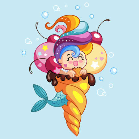 Cute kawaii mermaid character sitting in an ice cream cone. Vector cartoon isolated illustration. Stock illustration. For t-shirt composition, print and design, poster, card, sticker, decor and apparel