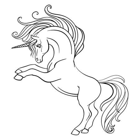 Little unicorn with a long mane and tail. Vector black and white illustration for coloring page. For adult antistress coloring books, tattoo, t-shirt composition, print and design, posters, cards, stickers, decor, party and apparel Иллюстрация