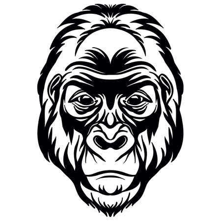 Mascot. Head of gorilla. Vector illustration black color front view of monkey isolated on white background. For decoration, print, design, logo, sport clubs, tattoo, t-shirt design, stickers, apparel
