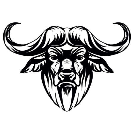 Mascot. Head of african buffalo. Vector illustration black color front view of wild animal isolated on white background. For decoration, print, design, logo, sport clubs, tattoo, t-shirt design, stickers Иллюстрация