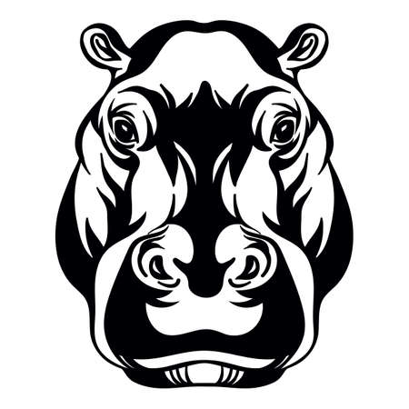 Mascot. Head of hippopotamus. Vector illustration black color front view of wild animal isolated on white background. For decoration, print, design, logo, sport clubs, tattoo, t-shirt design, stickers Иллюстрация