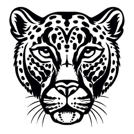 Mascot. Head of leopard. Vector illustration black color front view of wild cat isolated on white background. For decoration, print, design, logo, sport clubs, tattoo, t-shirt design, stickers, apparel Иллюстрация