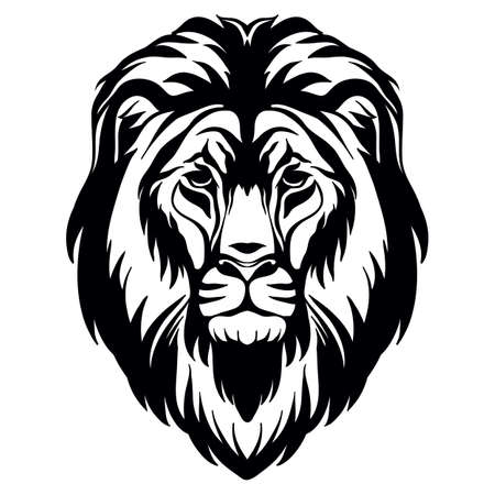 Mascot. Head of lion. Vector illustration black color front view of wild cat isolated on white background. For decoration, print, design, logo, sport clubs, tattoo, t-shirt design, stickers, apparel Иллюстрация