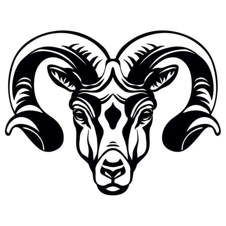 Mascot. Head of ram. Vector illustration black color front view of wild animal isolated on white background. For decoration, print, design, logo, sport clubs, tattoo, t-shirt design, stickers