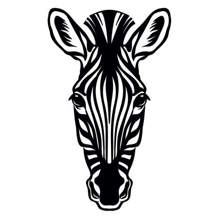 Mascot. Head of zebra. Vector illustration black color front view of wild animal isolated on white background. For decoration, print, design, logo, sport clubs, tattoo, t-shirt design, stickers