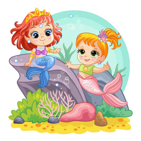 Background with an underwater world in a childrens style. Two cute little mermaids play on a coral reef. Vector illustration. For t-shirt, print and design, poster, card, sticker, decor and apparel Illustration