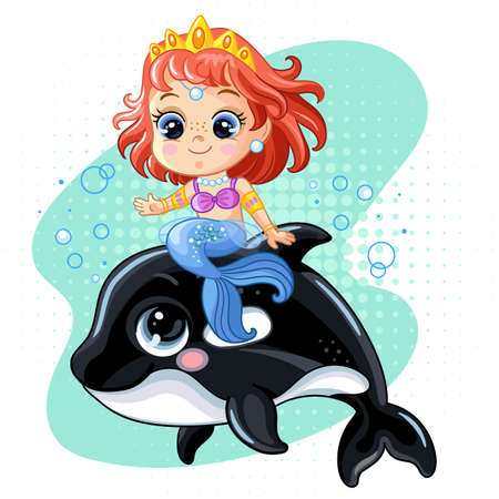Cute little mermaid riding on a killer whale. A cartoon character. Vector illustration isolated on a white background. For T-shirt, print and design, poster, postcard, sticker, decor and clothing