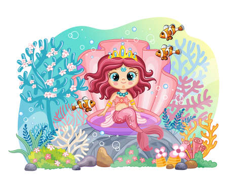 Background with underwater world in a childrens style. A mermaid sitting in a shell and coral reef. Vector illustration. For t-shirt, print and design, poster, card, sticker, decor and apparel