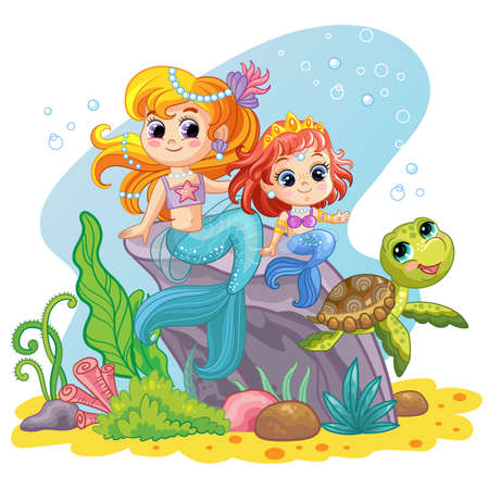Background with an underwater world in a childrens style. Two cute mermaids, sitting on a rock and turtle. Vector illustration. For t-shirt, print and design, poster, card, sticker, decor and apparel